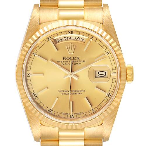 Photo of Rolex President Day-Date Yellow Gold Champagne Dial Mens Watch 18238