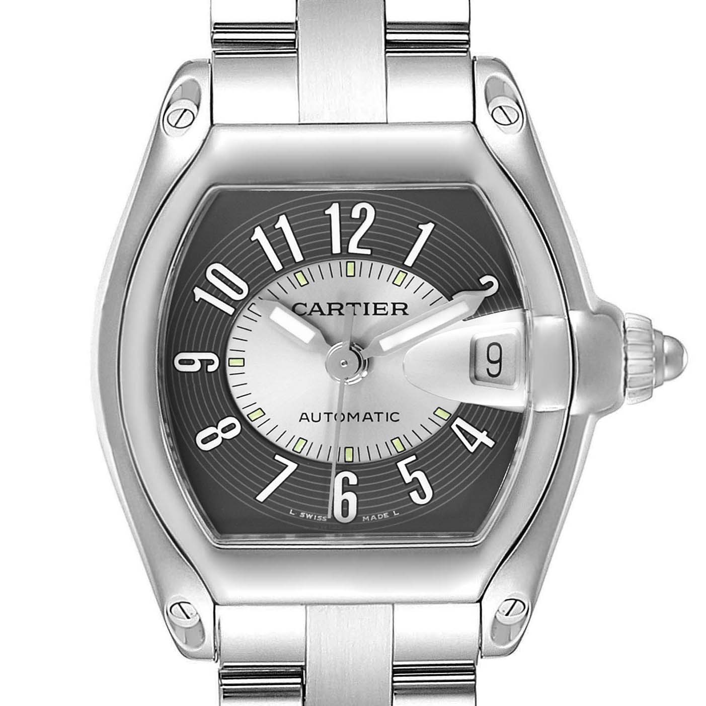 Cartier Roadster Black Silver Tuxedo Dial Steel Mens Watch W62001V3 SwissWatchExpo