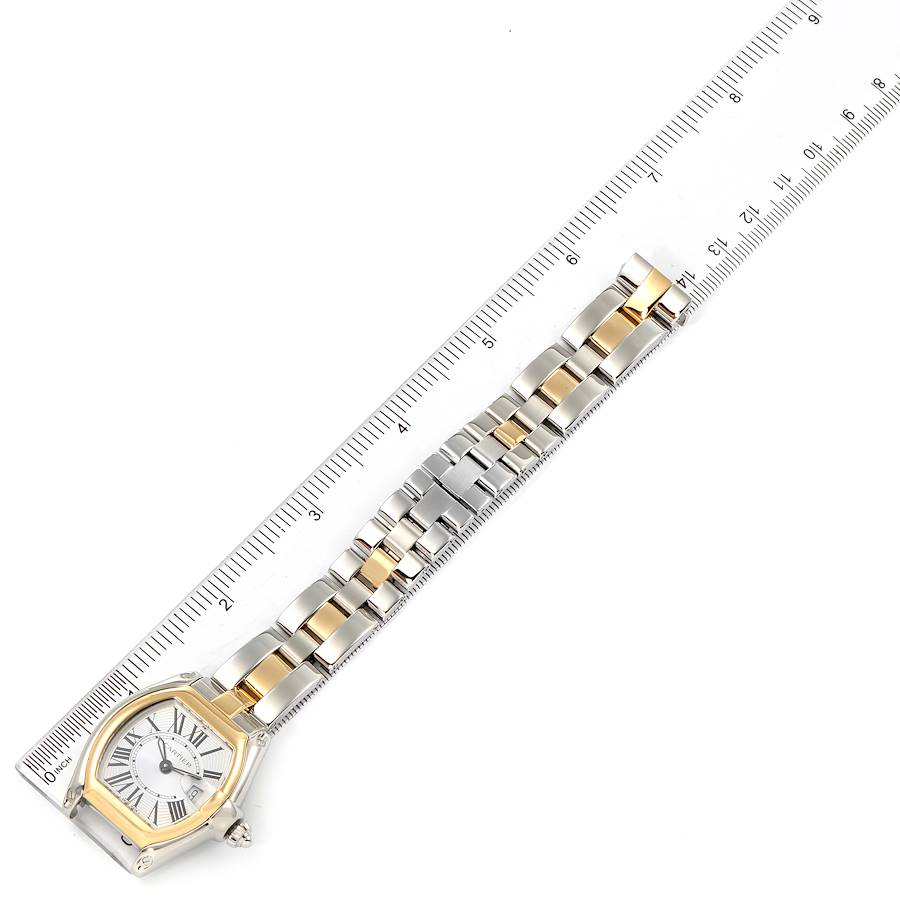 Cartier Roadster Silver Dial Steel Yellow Gold Ladies Watch W62026Y4 SwissWatchExpo
