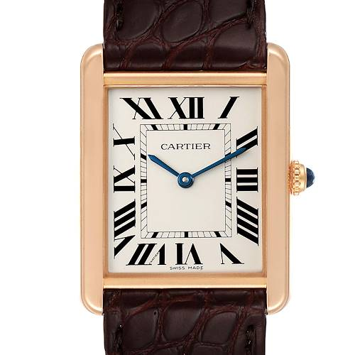 Photo of Cartier Tank Solo Rose Gold Steel Brown Strap Large Watch W5200025