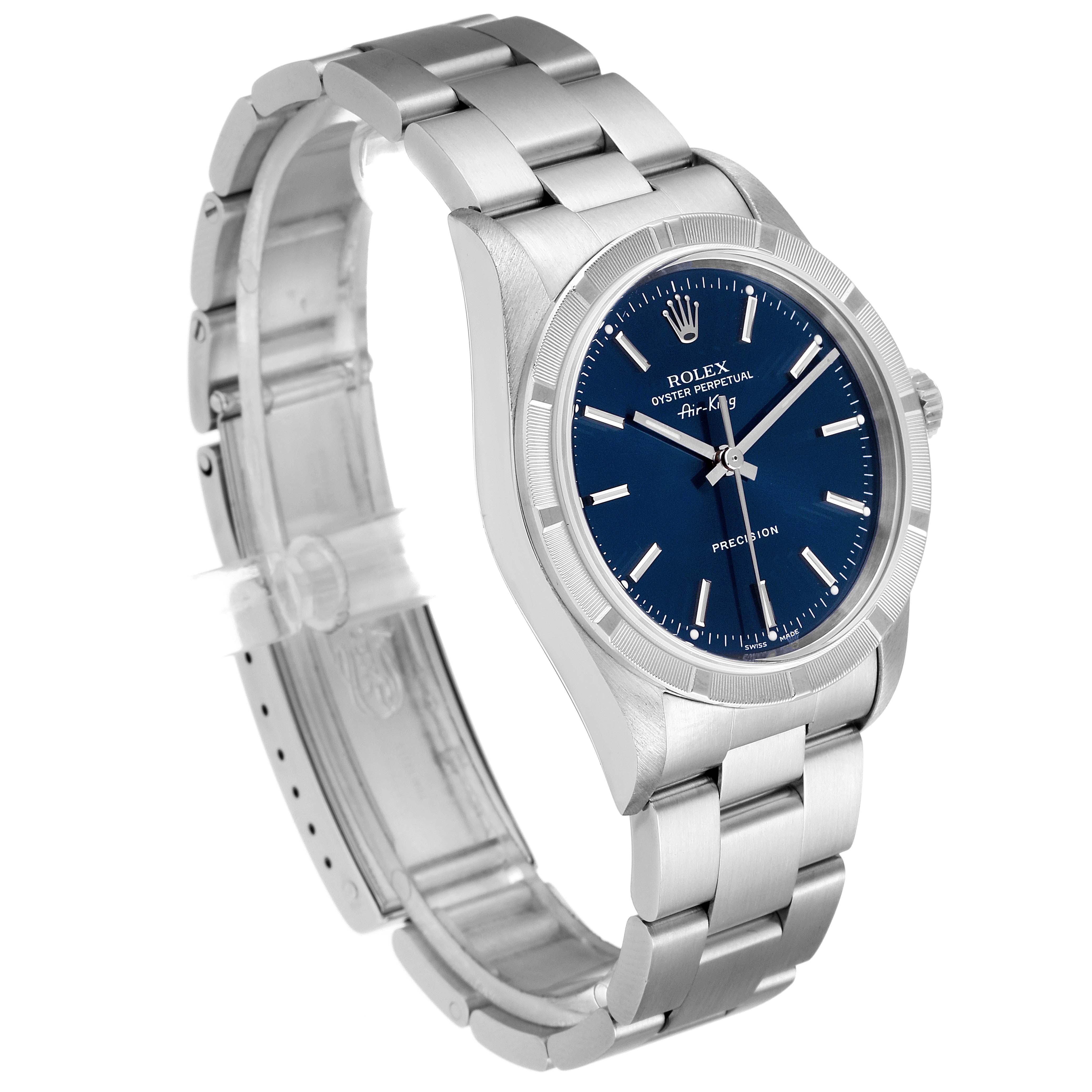 Rolex Air King 34mm Blue Dial Oyster Bracelet Mens Watch 14010 SwissWatchExpo