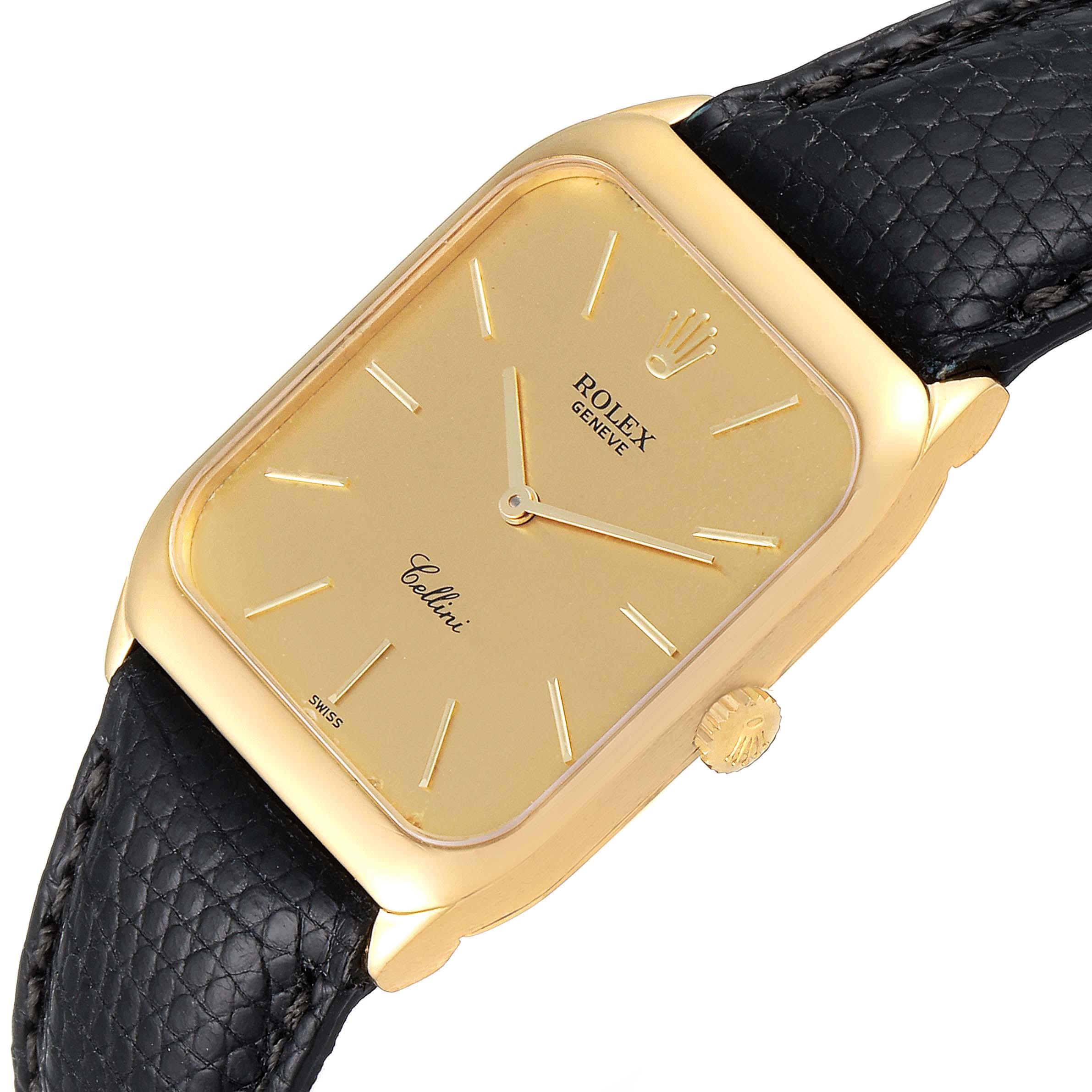 Rolex Cellini 18k Yellow Gold Black Strap Mens Vintage Watch 4135 SwissWatchExpo
