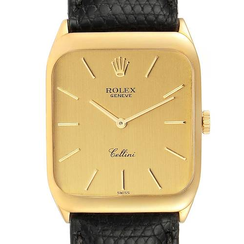 Photo of Rolex Cellini 18k Yellow Gold Black Strap Mens Vintage Watch 4135