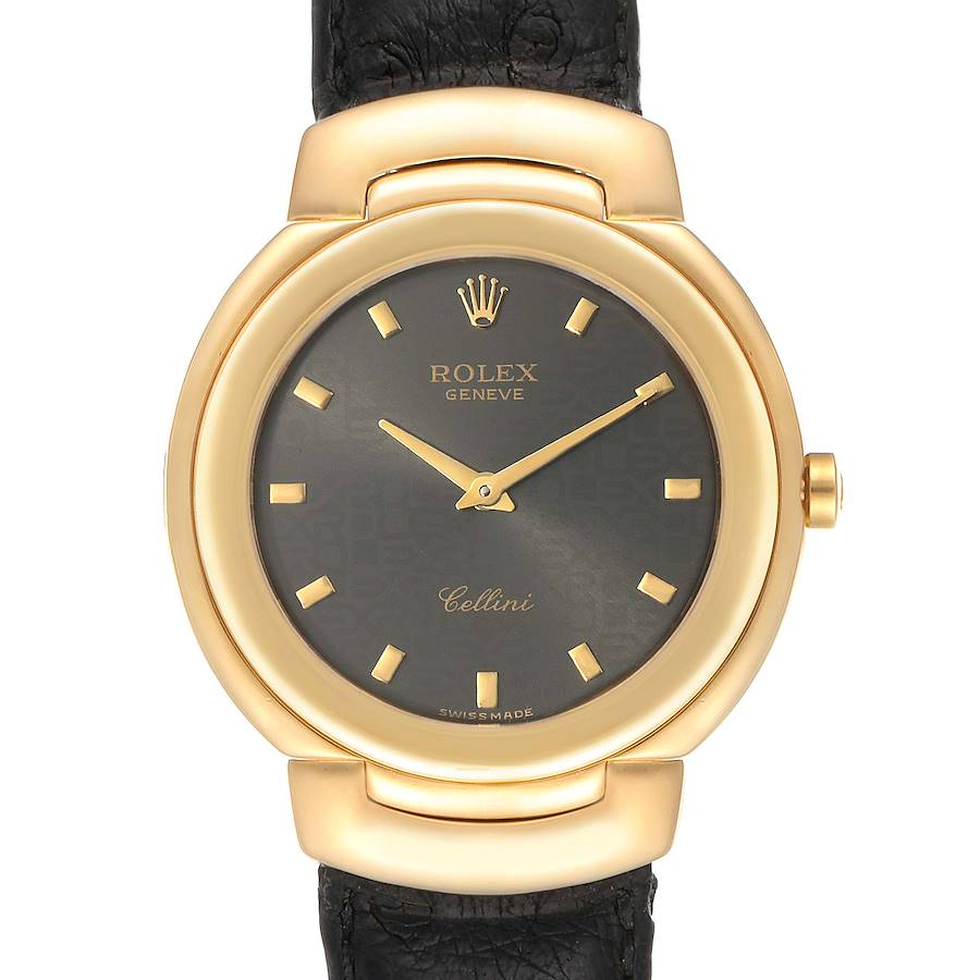 Rolex Cellini 18k Yellow Gold Grey Dial Black Strap Mens Watch 6622 SwissWatchExpo