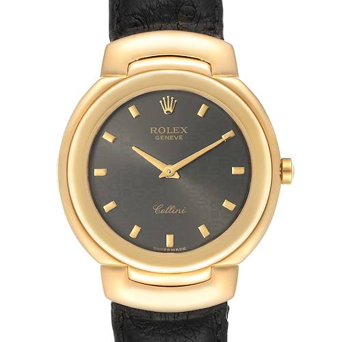 Photo of Rolex Cellini 18k Yellow Gold Grey Dial Black Strap Mens Watch 6622