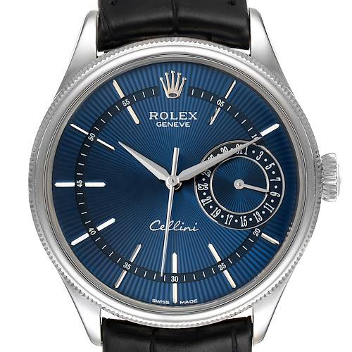 Photo of Rolex Cellini Date 18K White Gold Blue Dial Mens Watch 50519 Box Card