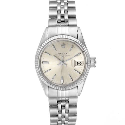 Photo of Rolex Date Silver Baton Dial Automatic Steel Ladies Watch 6517