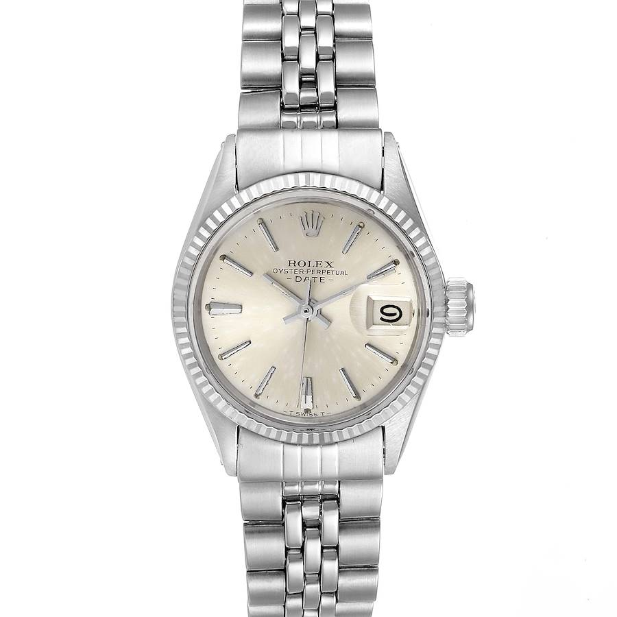 Rolex Date Silver Baton Dial Automatic Steel Ladies Watch 6517 SwissWatchExpo