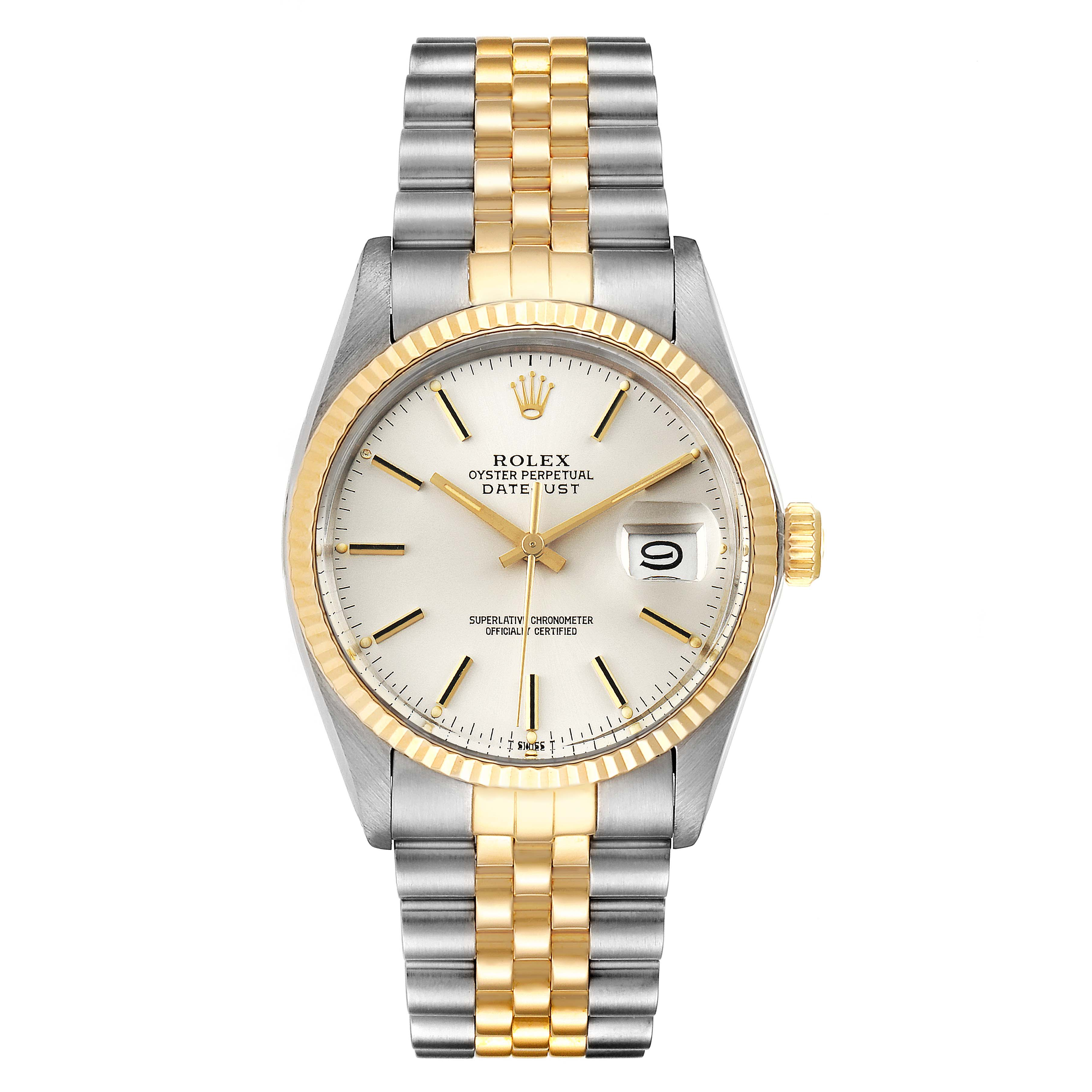 Rolex Datejust 36 Steel Yellow Gold Vintage Mens Watch 16013 SwissWatchExpo