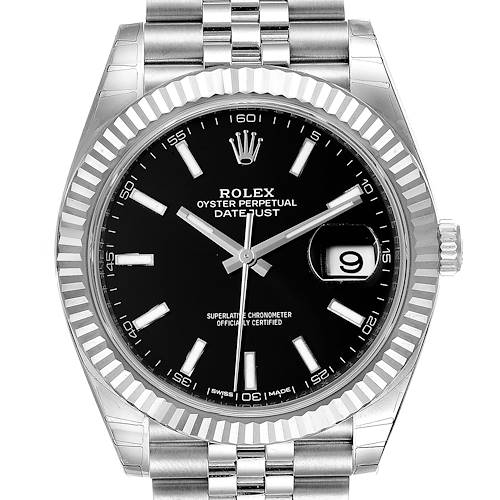 Photo of Rolex Datejust 41 Steel White Gold Black Dial Mens Watch 126334 Unworn