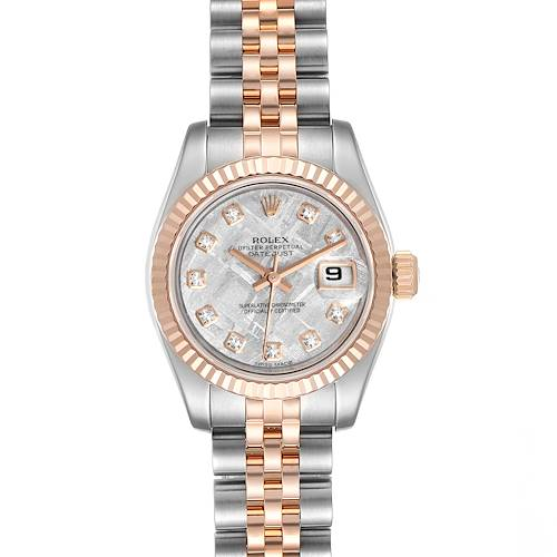 Photo of Rolex Datejust Steel EveRose Gold Meteorite Diamond Ladies Watch 179171