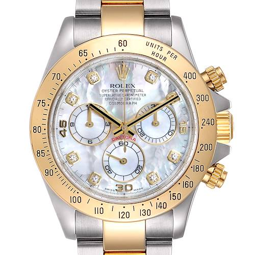 Rolex Daytona Yellow Gold Steel MOP Diamond Watch 116523 Box