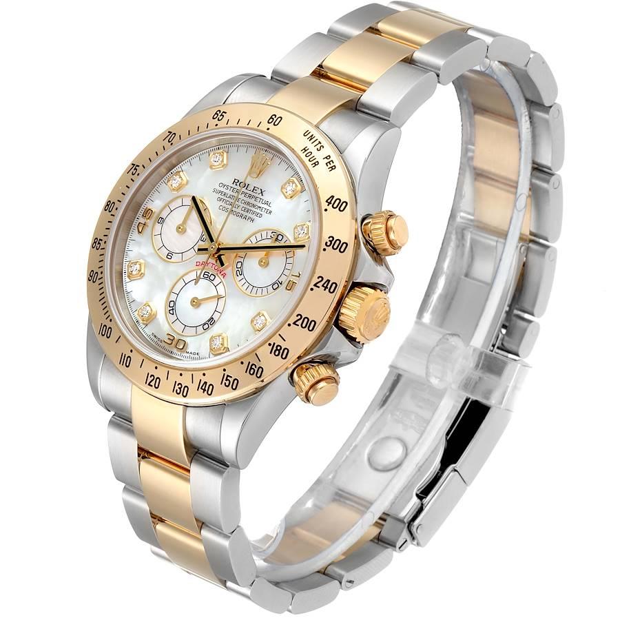 Rolex Daytona Yellow Gold Steel MOP Diamond Watch 116523 Box SwissWatchExpo