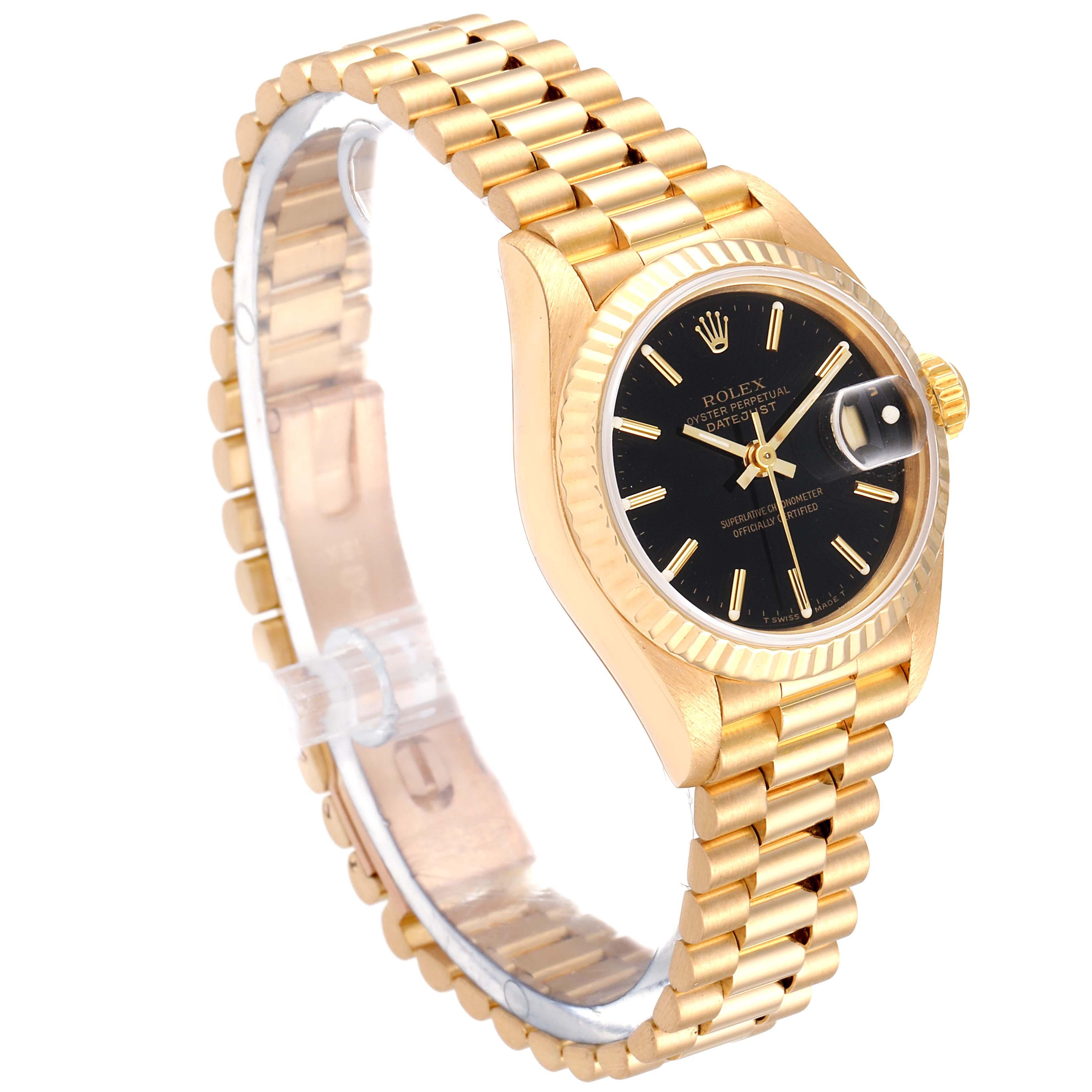Rolex President Datejust 26 Yellow Gold Black Dial Ladies Watch 69178 SwissWatchExpo