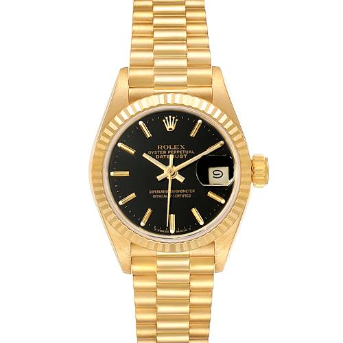 Photo of Rolex President Datejust 26 Yellow Gold Black Dial Ladies Watch 69178