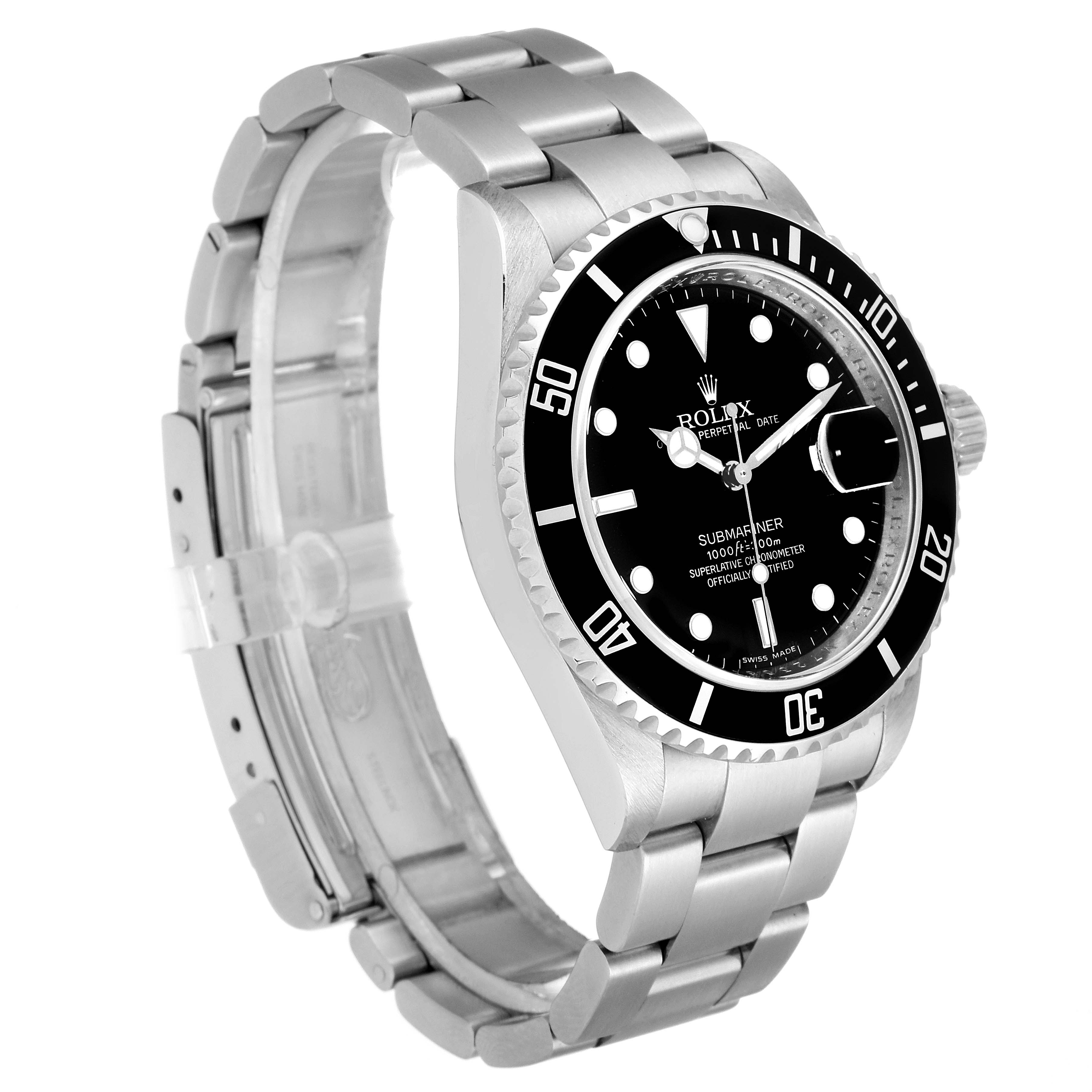 Rolex Submariner Black Dial Stainless Steel Mens Watch 16610 Box Papers SwissWatchExpo