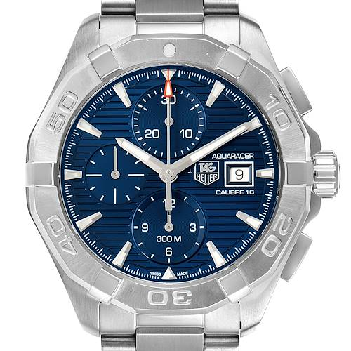 Photo of Tag Heuer Aquaracer Chronograph Blue Dial Steel Mens Watch CAY2112 Box