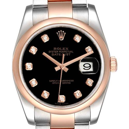 Photo of Rolex Datejust 36 Steel EveRose Gold Black Diamond Dial Watch 116201