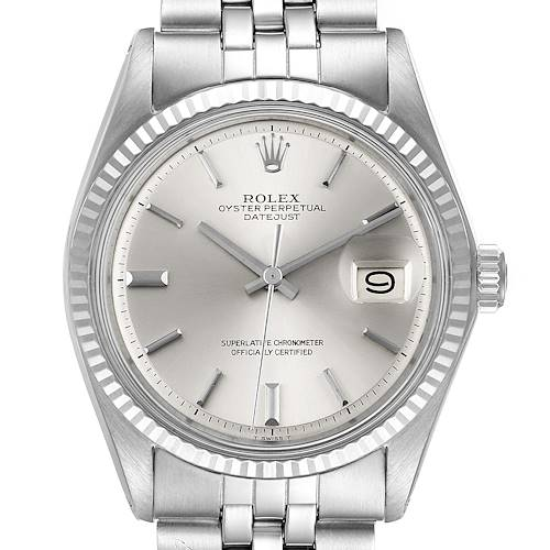 Photo of Rolex Datejust Steel White Gold Silver Dial Vintage Mens Watch 1601 Papers