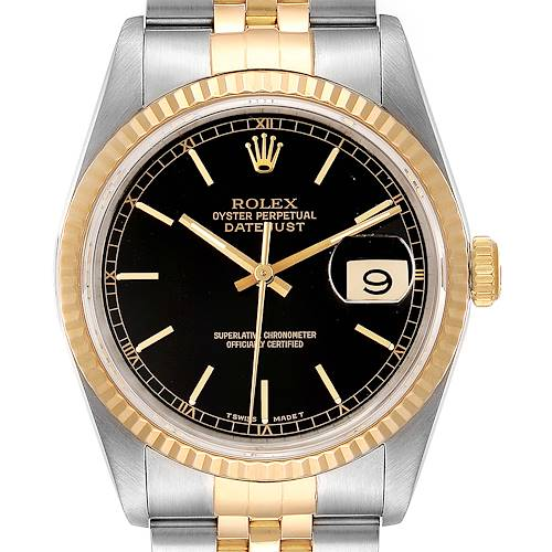 Photo of Rolex Datejust Steel Yellow Gold Black Dial Mens Watch 16233 Box Papers
