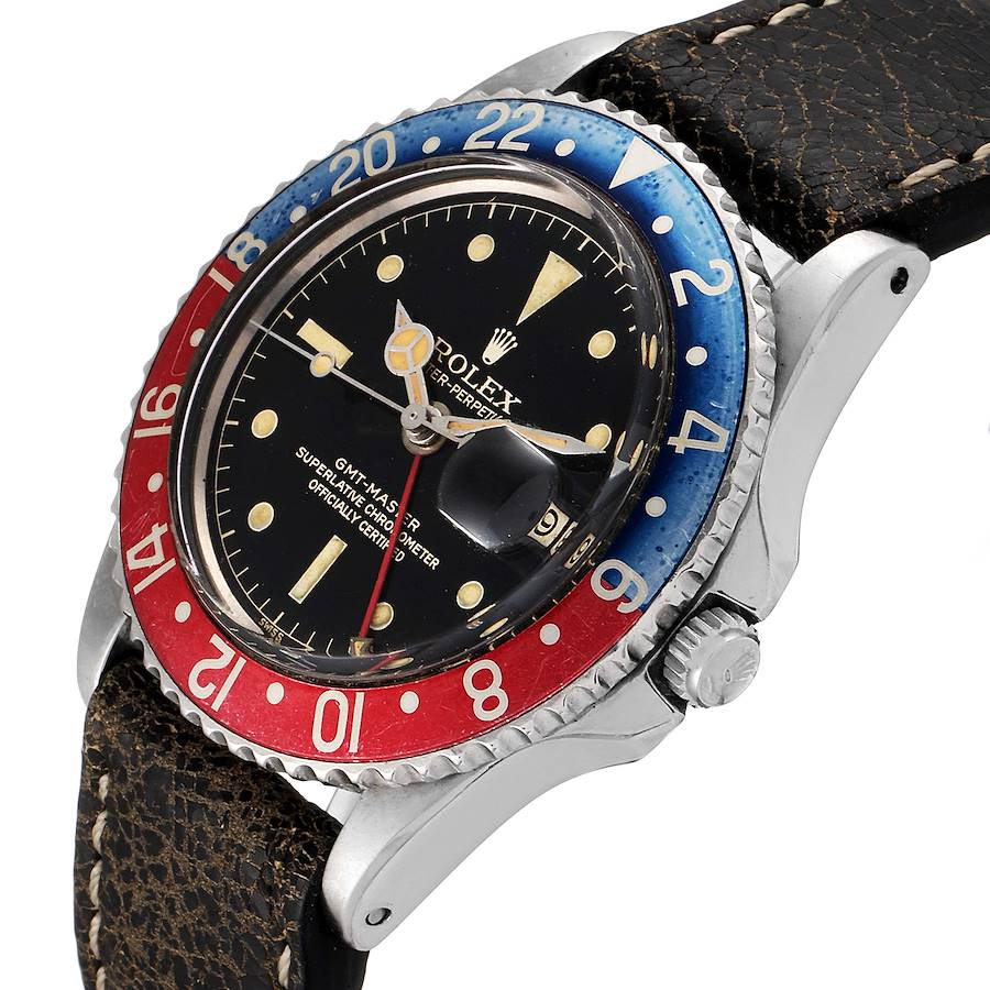 Rolex GMT Master Pointed Crown Guards Pepsi Vintage Mens Watch 1675 SwissWatchExpo