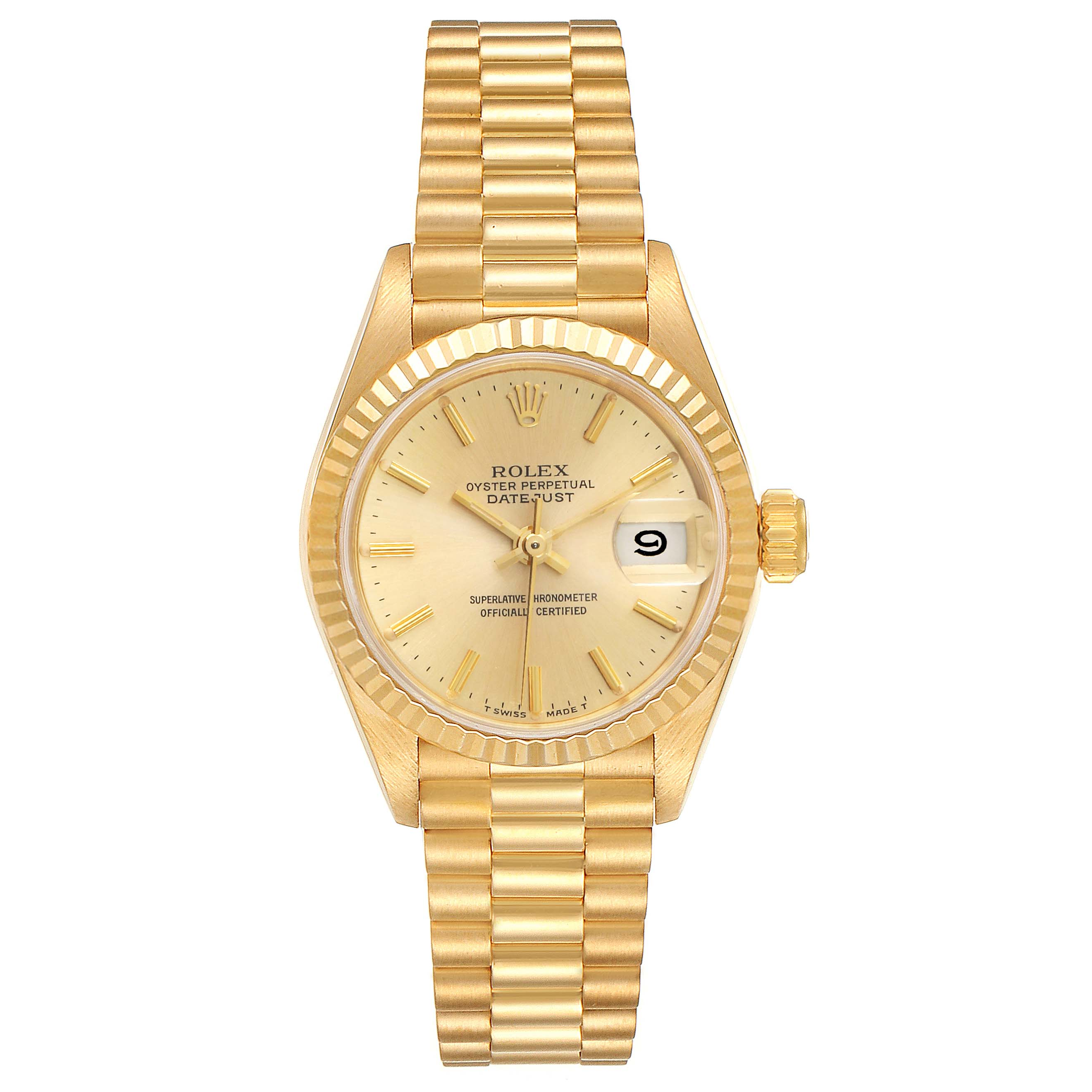 Rolex President Datejust 18K Yellow Gold Ladies Watch 69178 SwissWatchExpo