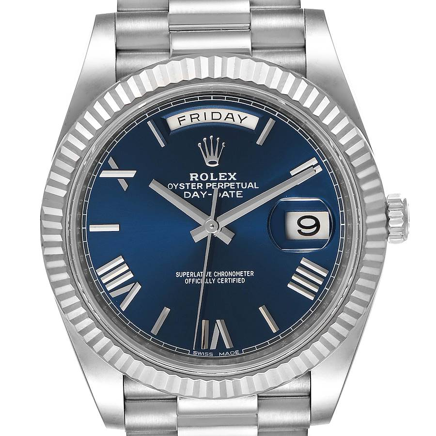 Rolex President Day-Date 40 Blue Dial White Gold Watch 228239 SwissWatchExpo