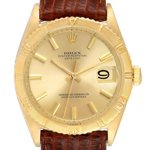 Photo of Rolex Datejust Turnograph 18K Yellow Gold Vintage Mens Watch 6609