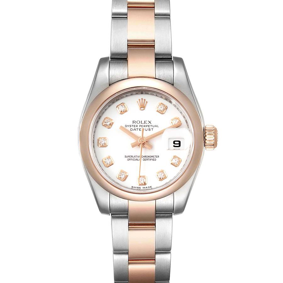 Rolex Datejust Steel Rose Gold Diamond Ladies Watch 179161 Box Papers SwissWatchExpo