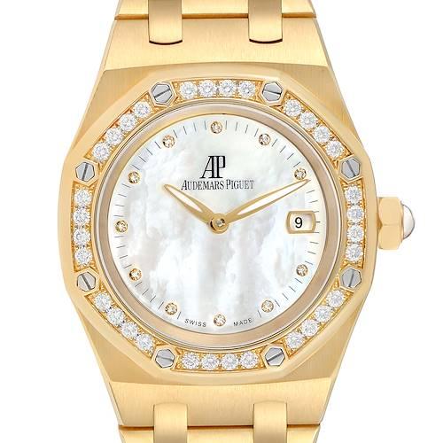 Photo of Audemars Piguet Royal Oak Yellow Gold MOP Diamond Midsize Watch 67601
