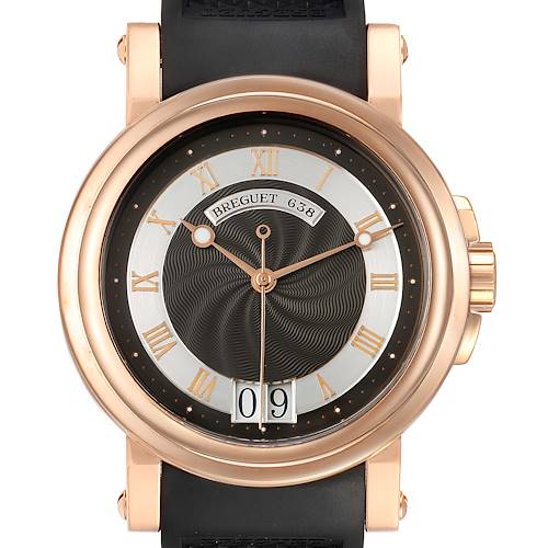 Breguet Marine Big Date Rose Gold Ruber Strap Mens Watch 5817BR