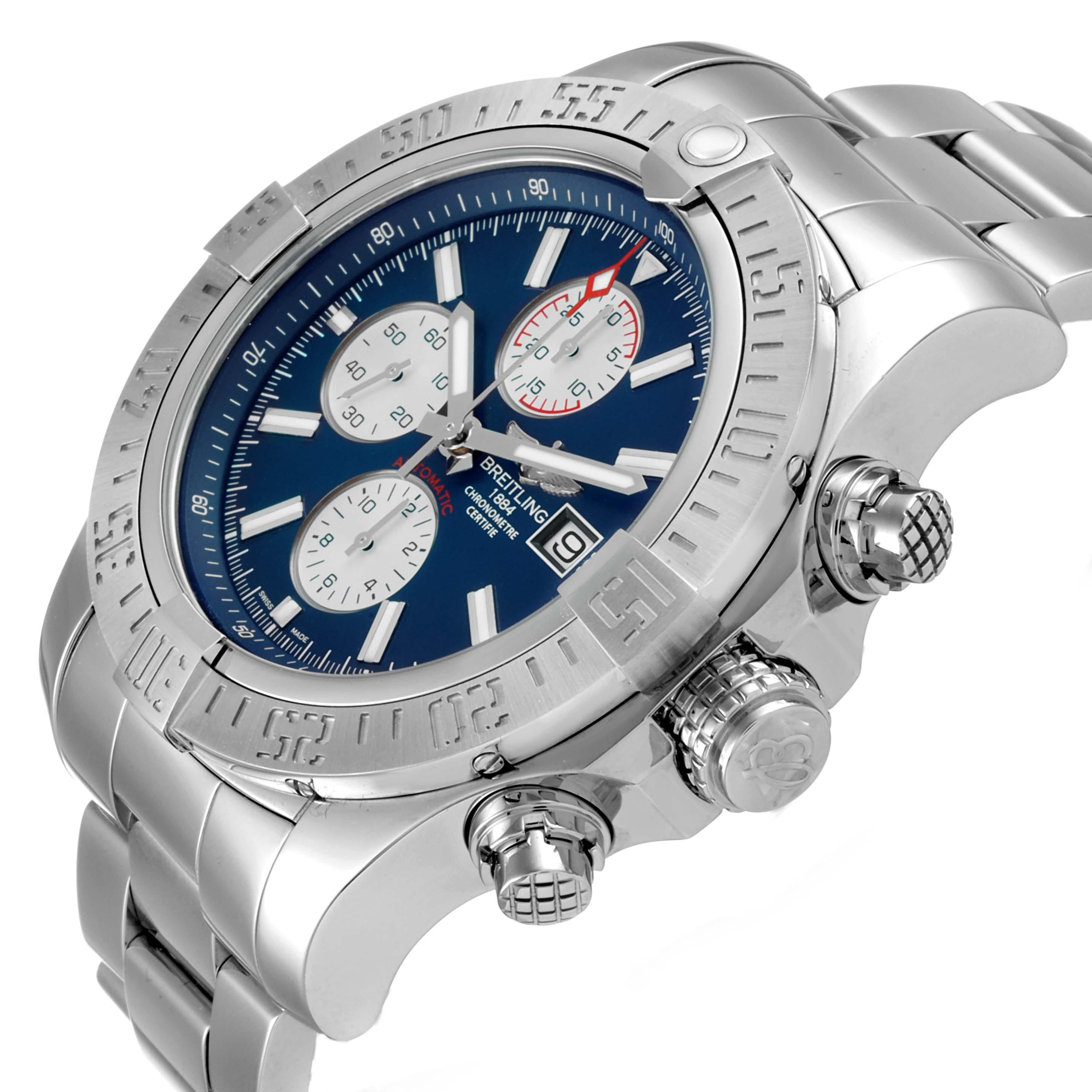 Breitling Aeromarine Super Avenger Steel Mens Watch A13371 Box Papers SwissWatchExpo