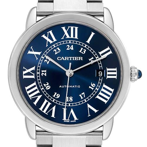 Photo of Cartier Ronde Solo XL Blue Dial Automatic Steel Mens Watch WSRN0023