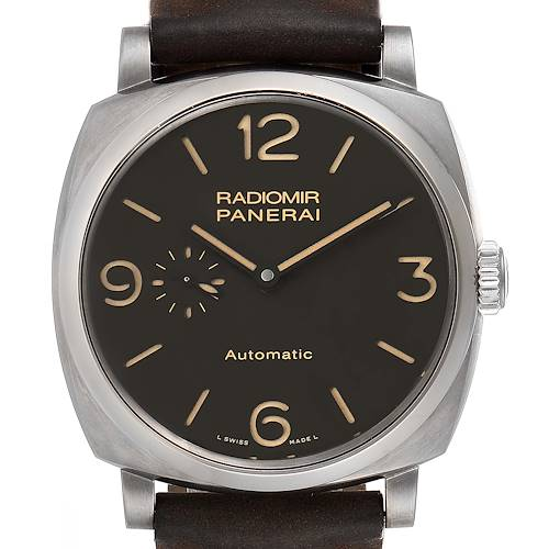 Photo of Panerai Radiomir Brown Dial 3 Days 45mm Titanium Watch PAM00619 Box Papers
