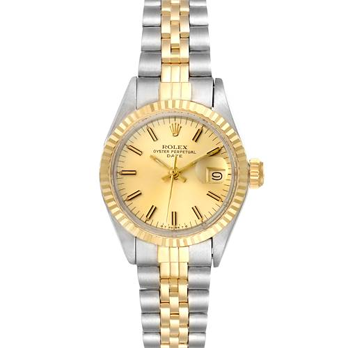 Photo of Rolex Date Steel Yellow Gold Fluted Bezel Ladies Watch 6917