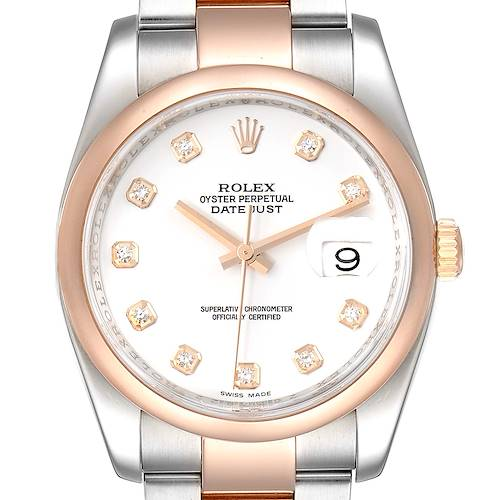 Photo of Rolex Datejust Steel EveRose Gold White Diamond Dial Watch 116201 Box Card