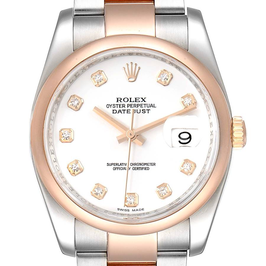 Rolex Datejust Steel EveRose Gold White Diamond Dial Watch 116201 Box Card SwissWatchExpo