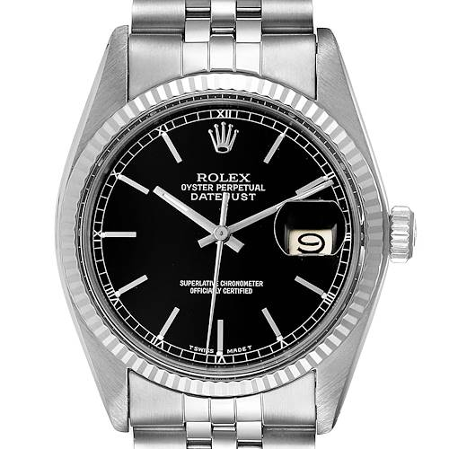 Photo of Rolex Datejust Vintage Steel White Gold Black Dial Mens Watch 16014