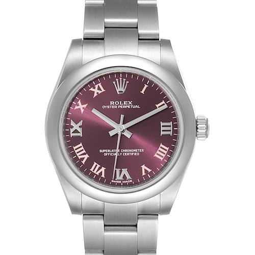 Photo of Rolex Oyster Perpetual Midsize Red Grape Dial Ladies Watch 177200 Unworn