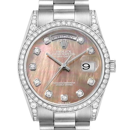 Photo of Rolex President Day-Date 18k White Gold MOP Diamond Mens Watch 118339 Box Papers
