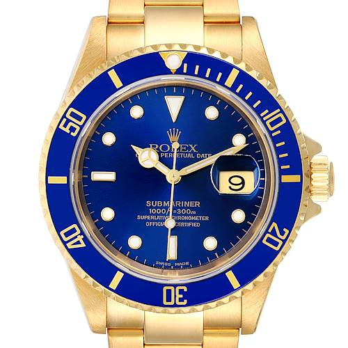 Photo of Rolex Submariner Yellow Gold Blue Dial 40mm Mens Watch 16618 Box Papers