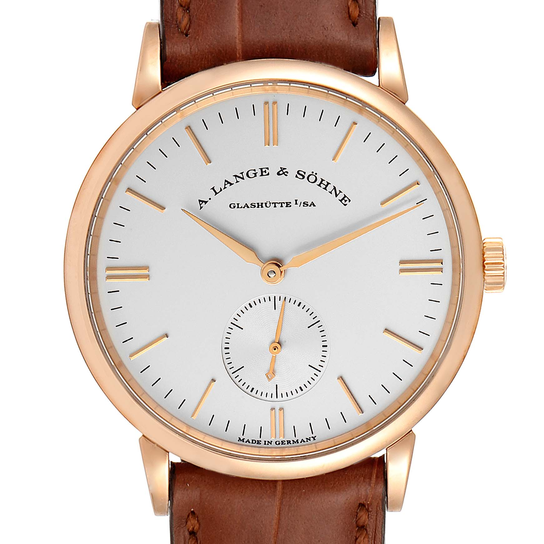A. Lange and Sonhne Saxonia 18k Rose Gold Silver Dial Mens Watch 219.032 SwissWatchExpo
