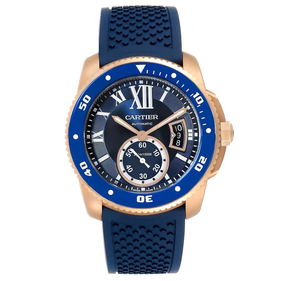 Cartier Calibre Rose Gold Blue Dial Automatic Mens Watch WGCA0010 Unworn SwissWatchExpo