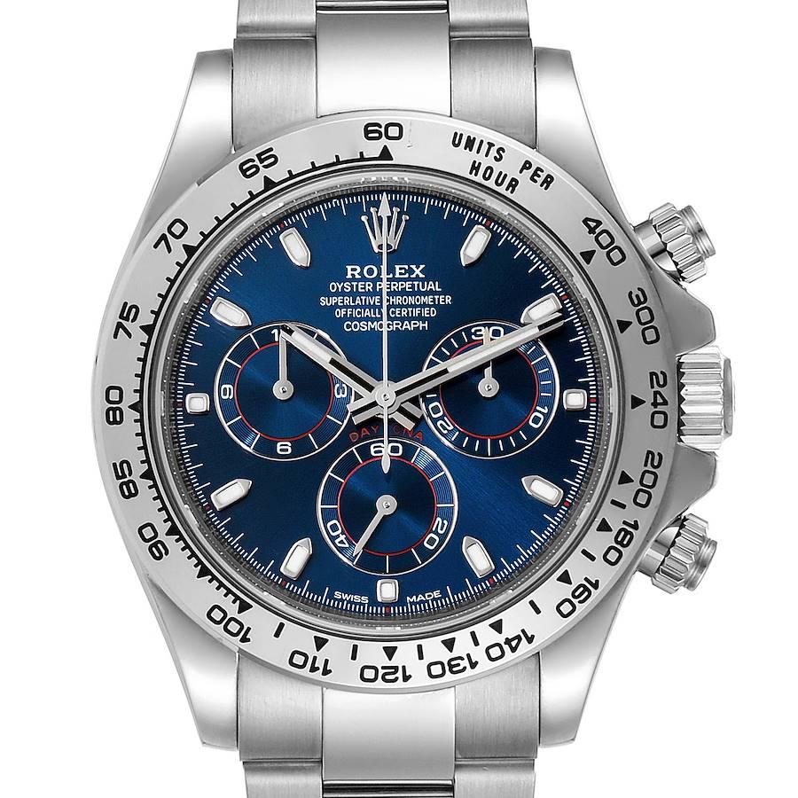 Rolex Cosmograph Daytona White Gold Blue Dial Mens Watch 116509 Box Card SwissWatchExpo