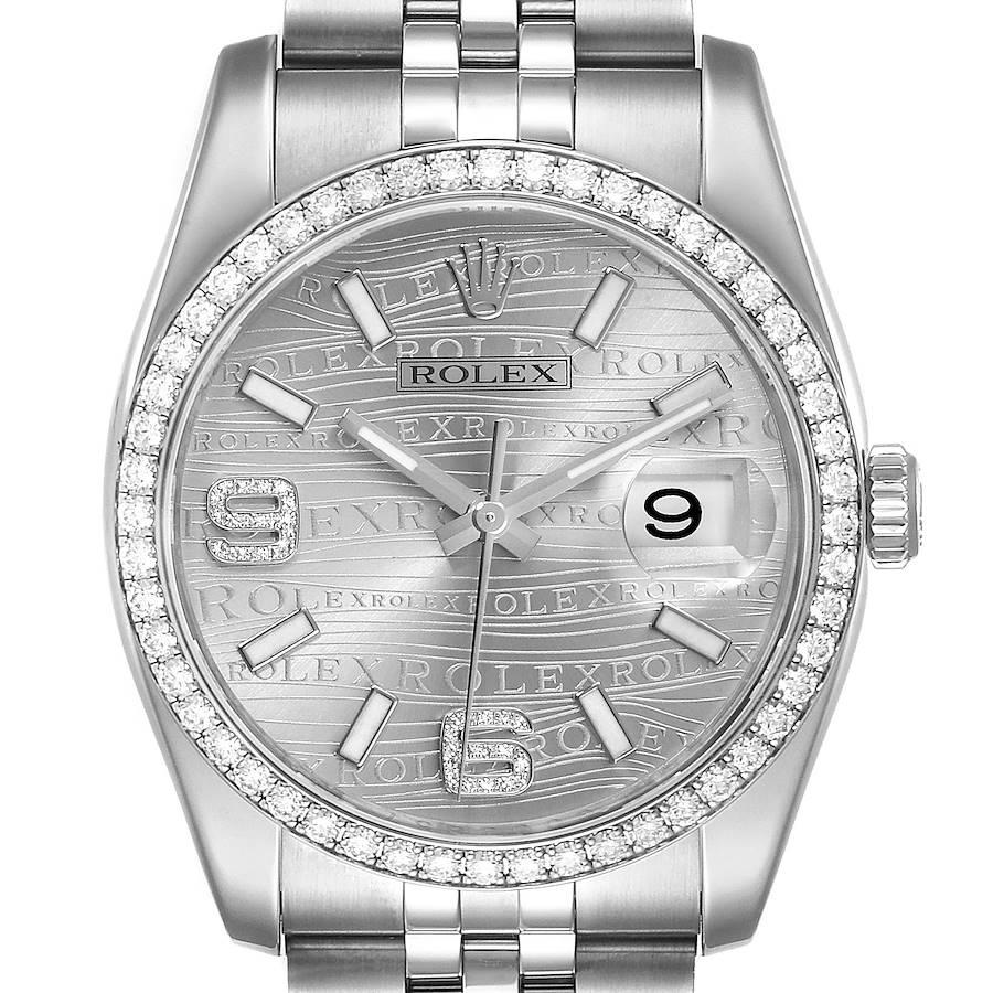 Rolex Datejust 36 Silver Wave Diamond Dial Mens Watch 116244 SwissWatchExpo