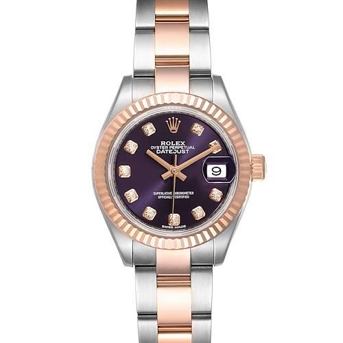 Photo of Rolex Datejust Steel Rose Gold Aubergine Diamond Ladies Watch 279171 Box Papers