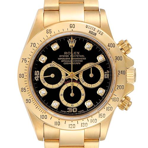 Photo of Rolex Daytona Yellow Gold Diamond Dial Chronograph Mens Watch 16528
