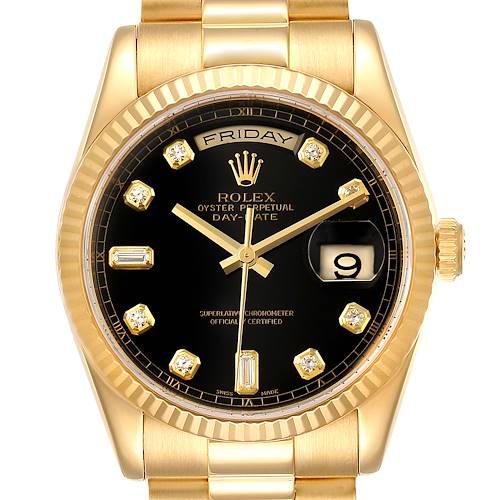 Photo of Rolex President Day Date Yellow Gold Diamond Mens Watch 118238 Box