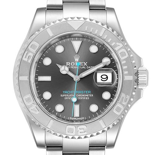 Photo of Rolex Yachtmaster Rhodium Dial Steel Platinum Mens Watch 116622 Box Papers