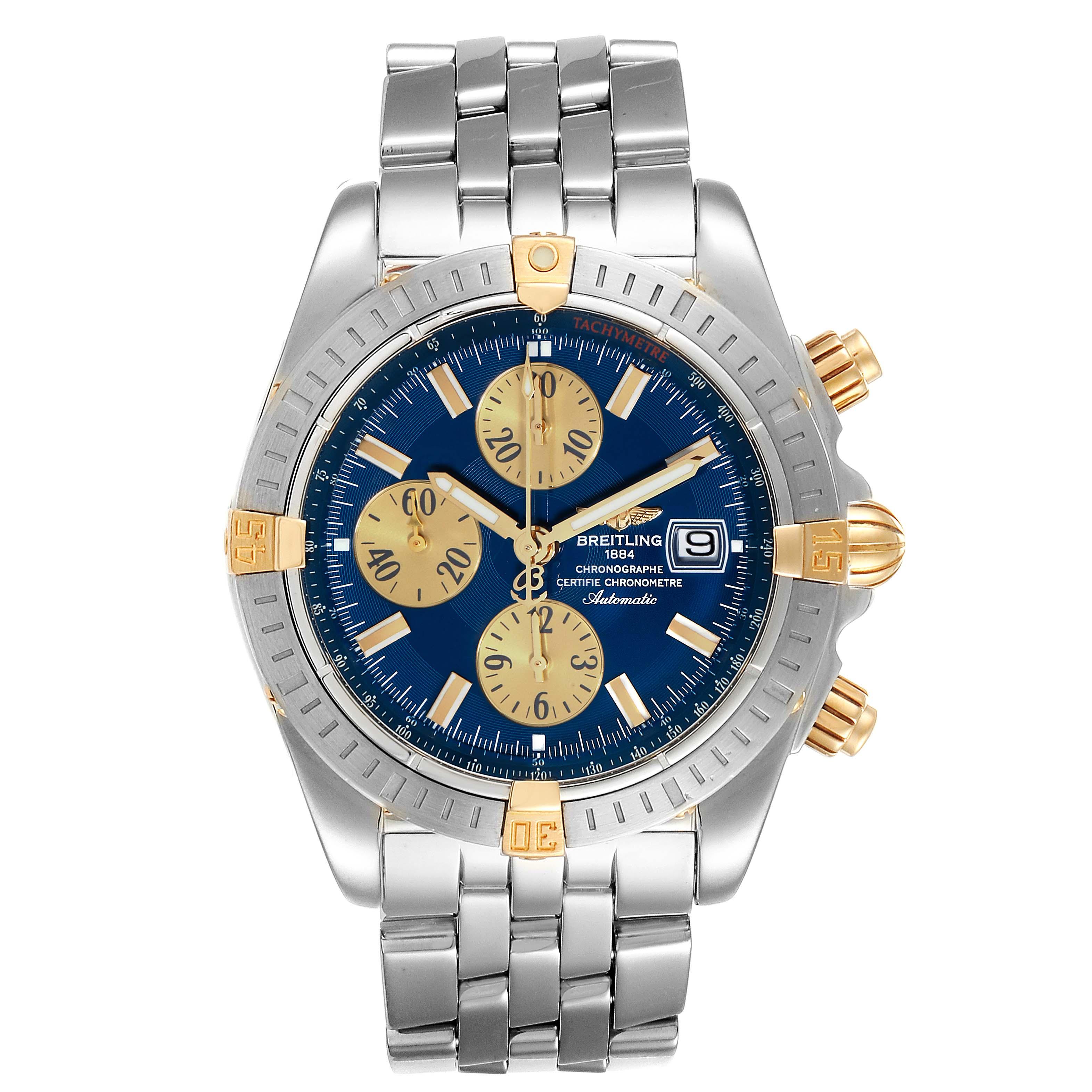 Breitling Chronomat Steel 18K Yellow Gold Blue Dial Mens Watch B13356 SwissWatchExpo